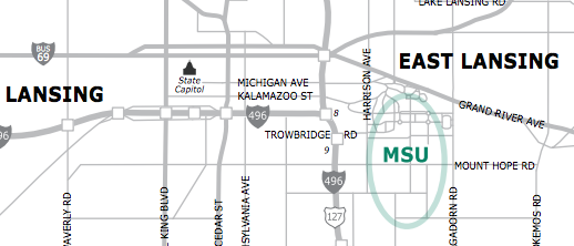 Michigan State University Driving Directions PDF Graphic
